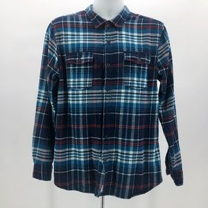On The Byas Blue Red & White Plaid Flannel Shirt L